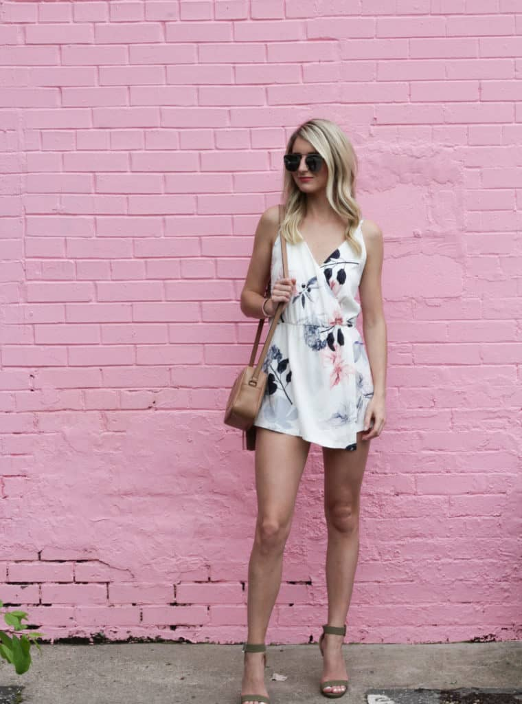 floral romper, spring romper, summer romper, white romper, how to style a romper, spring outfit, spring outfit for women, floral outfit, disco bag, gucci disco bag