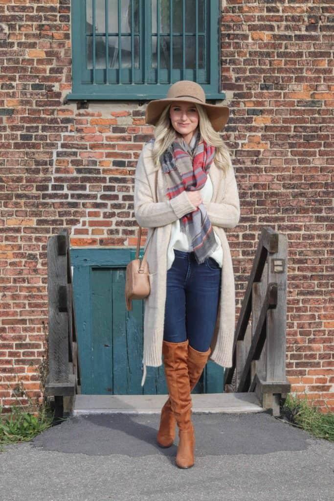autumn cardigan with rust otk boots