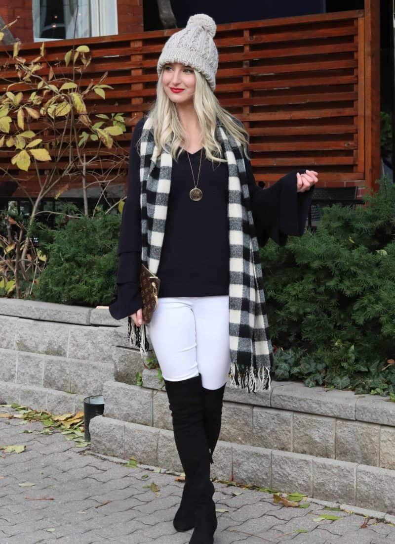 Navy Bell Sleeve top with Check scarf!