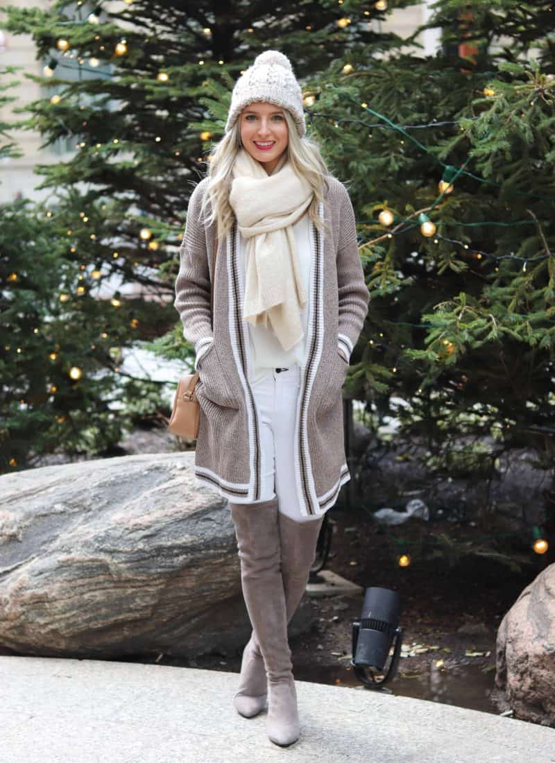 Taupe Cardigan With Taupe OTK Boots