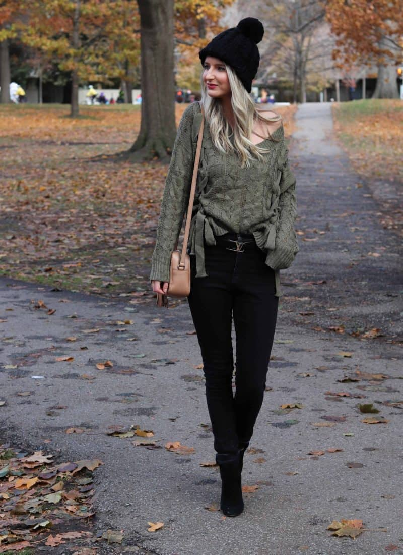 Olive Sweater with Bow ties and black beanie