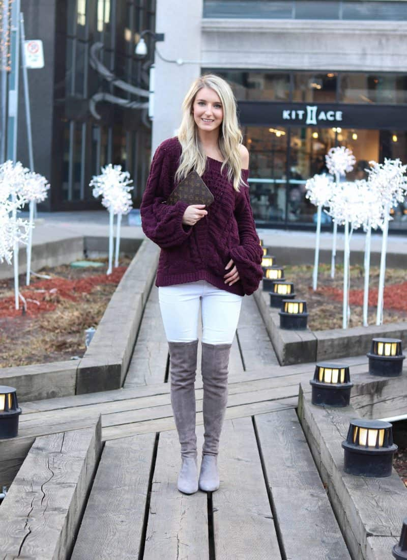 Express maroon Off the shoulder sweater