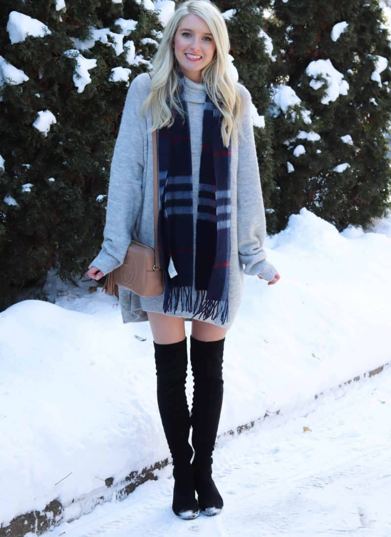 Cozy Tunic Dress featuring Burberry Scarf