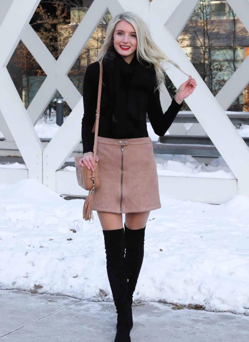 Beige Winter Skirt featuring black bodysuit
