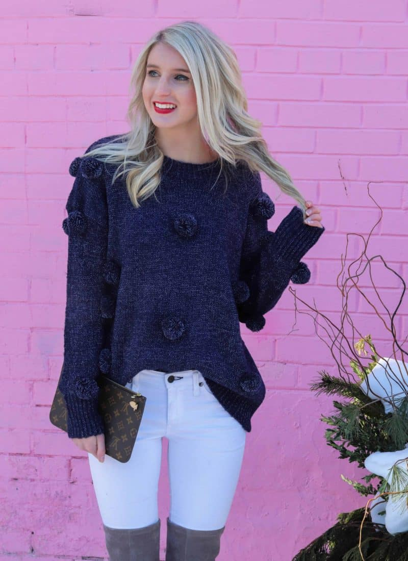 purple pom pom sweater