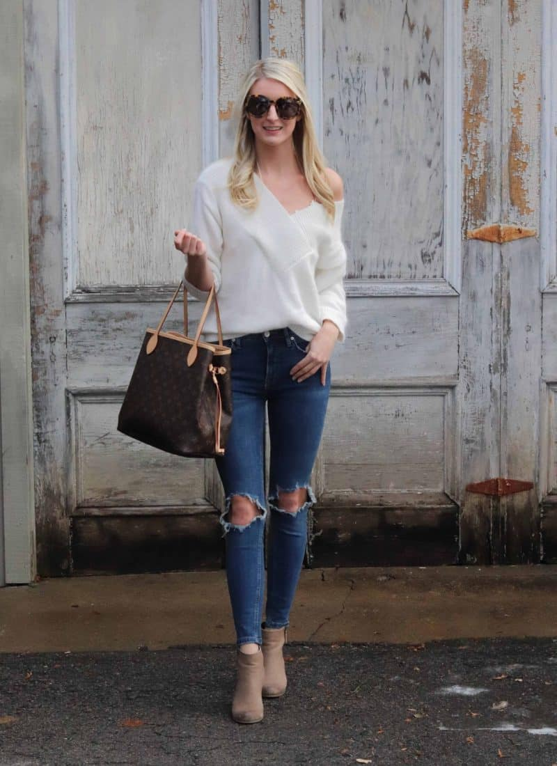 ripped jeans and white sweater