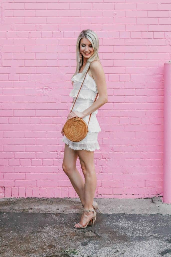 white polka dot ruffle mini dress