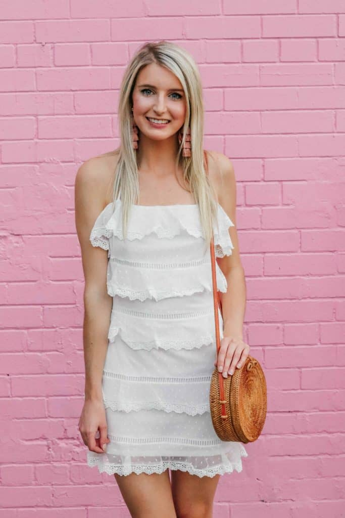 white ruffle polka dot mini dress