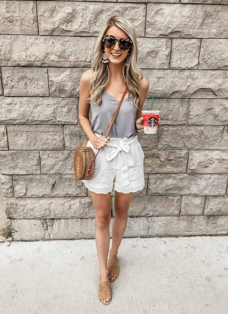 white paperbag shorts with round rattan bag