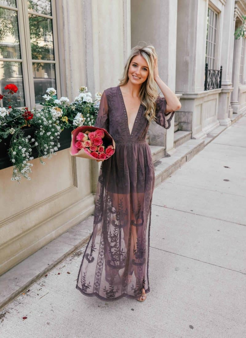 Maxi dress, maxi dress outfit, summer maxi dress, lace romper maxi dress, lace maxi romper, lace overlay romper, purple maxi dress, Prada & Pearls, overlay romper, fashion blogger