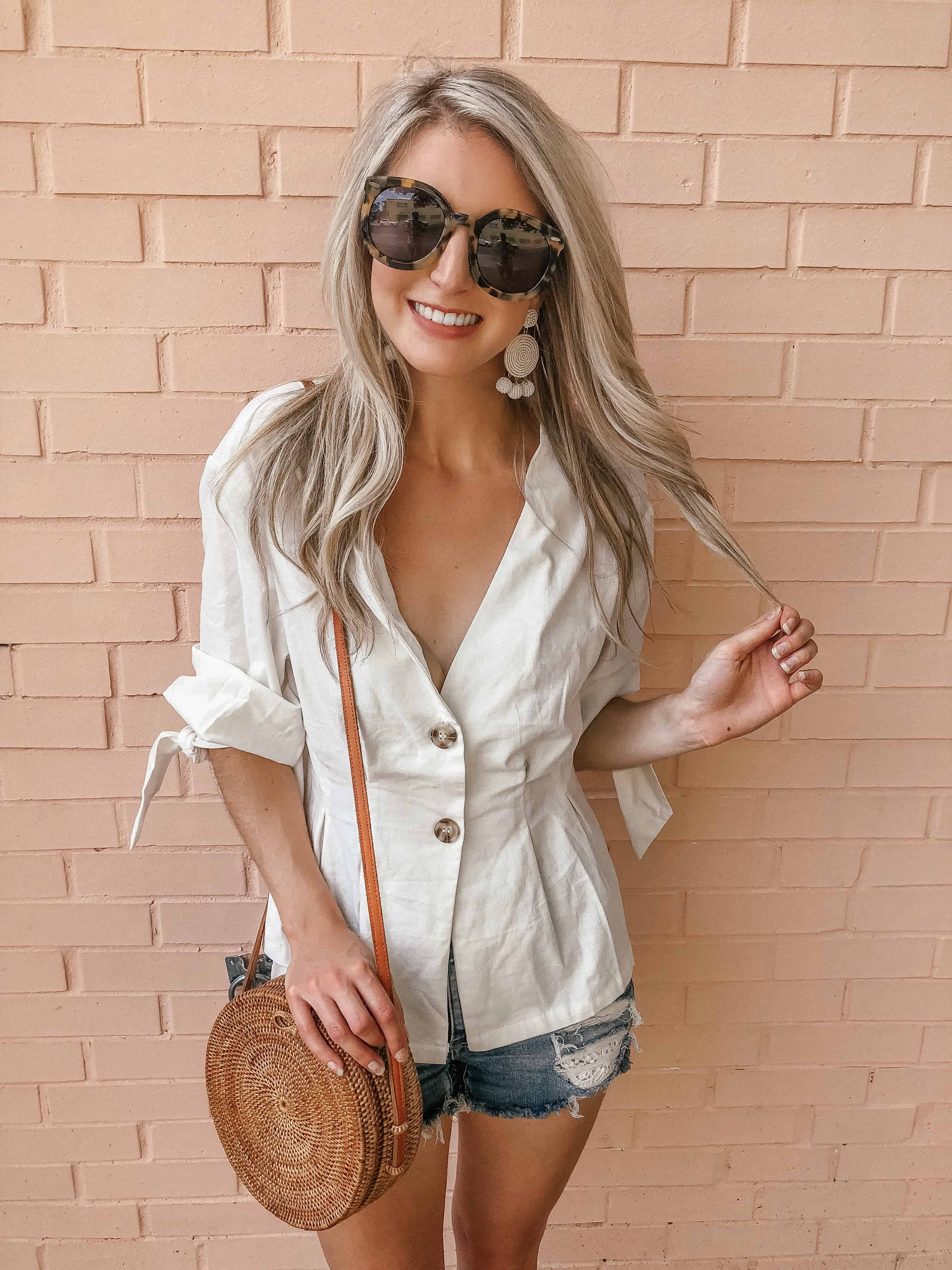 button front top, summer outfit, summer top, button front, button front top outfit, button up shirt outfit, button up shirt, button up shirt outfit casual, button up blouse, summer top, summer tops women, white top outfit, white top outfit summer, white top summer, Prada & Pearls, fashion blogger