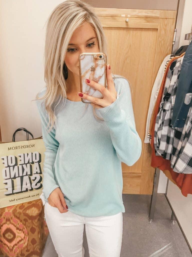 Nordstrom, Prada & Pearls, Fashion Blogger, nordstrom sale, capsule wardrobe, sale, nordstrom anniversary sale, blue sweater, baby blue sweater, blue sweater women, spring sweater, spring sweater women