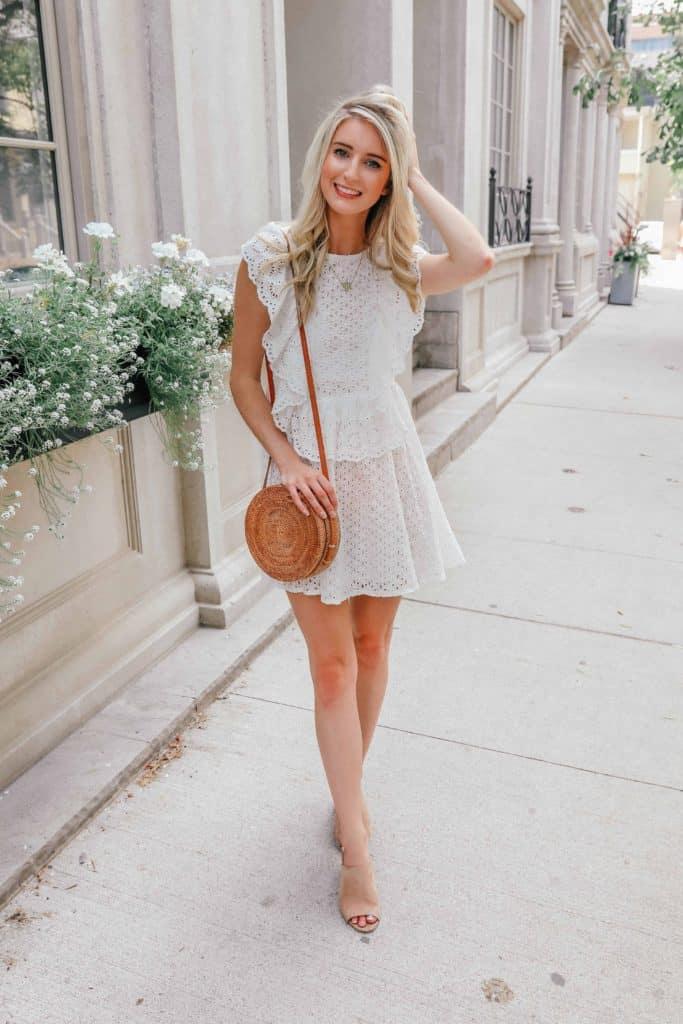 white summer dress, white dress summer, white dress, white dresses, white lace dress, white ruffle dress, ruffle dress, ruffle dress casual, round rattan bag, round rattan bag outfit, Prada & Pearls, Fashion Blogger