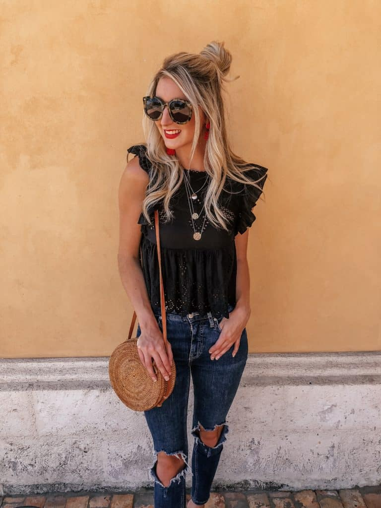 fall transition outfits, fall trends, fall transition outfits casual, fall transition outfits 2018, fall transition, ripped jeans, ripped jeans outfit, top knot, top knot bun, ruffle top, black crop top, crop top outfit, Prada & Pearls, Fashion blogger