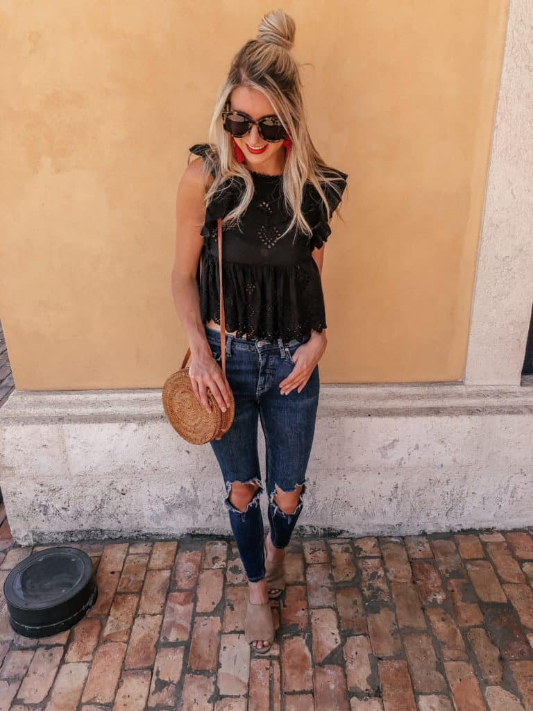 fall transition outfits, fall trends, fall transition outfits casual, fall transition outfits 2018, fall transition, ripped jeans, ripped jeans outfit, top knot, top knot bun, ruffle top, black crop top, crop top outfit, Prada & Pearls, Fashion blogger, round rattan bag, round rattan bag outfit