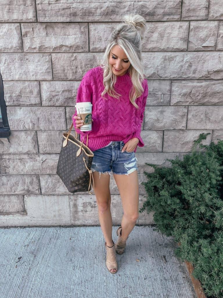 hot pink sweater, hot pink outfit, pink sweater, pink sweater outfit, pink sweater street style, fall sweater, fall sweater outfit, fall sweater outfit 2018, fashion blogger, prada & pearls, half knot hair, half knot long hair, starbucks