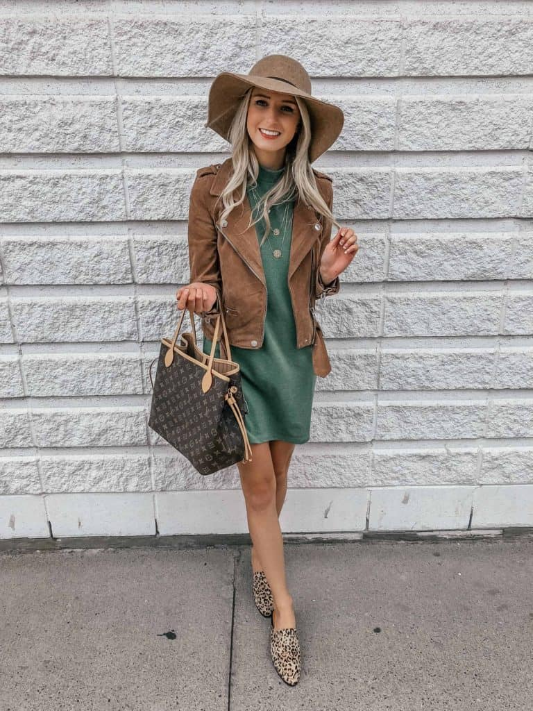 t-shirt dress, tshirt dress, t-shirt dresses, orange dress, fall dresses, fedora, felt hat outfit, Louise Vuitton never full, tshirt dress outfit, tshirt dress outfit fall, tshirt dress fall, starbucks drinks, Prada & Pearls, Fashion Blogger