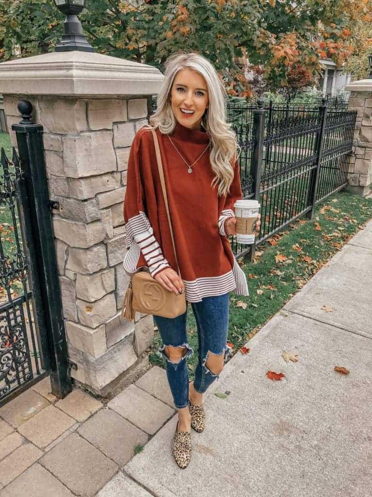 fall outfit, fall outfit women, fall outfit 2018, fall sweater, fall sweaters women, fall sweaters 2018, casual look, casual outfit, casual outfit fall, casual outfit women, striped red sweater, striped sweater outfit, poncho sweater, chicwish, fall fashion, 18 fall outfits, fashion blogger, prada & pearls, fall outfits, fall outfit, ideas, leopard mules, leopard mule outfit