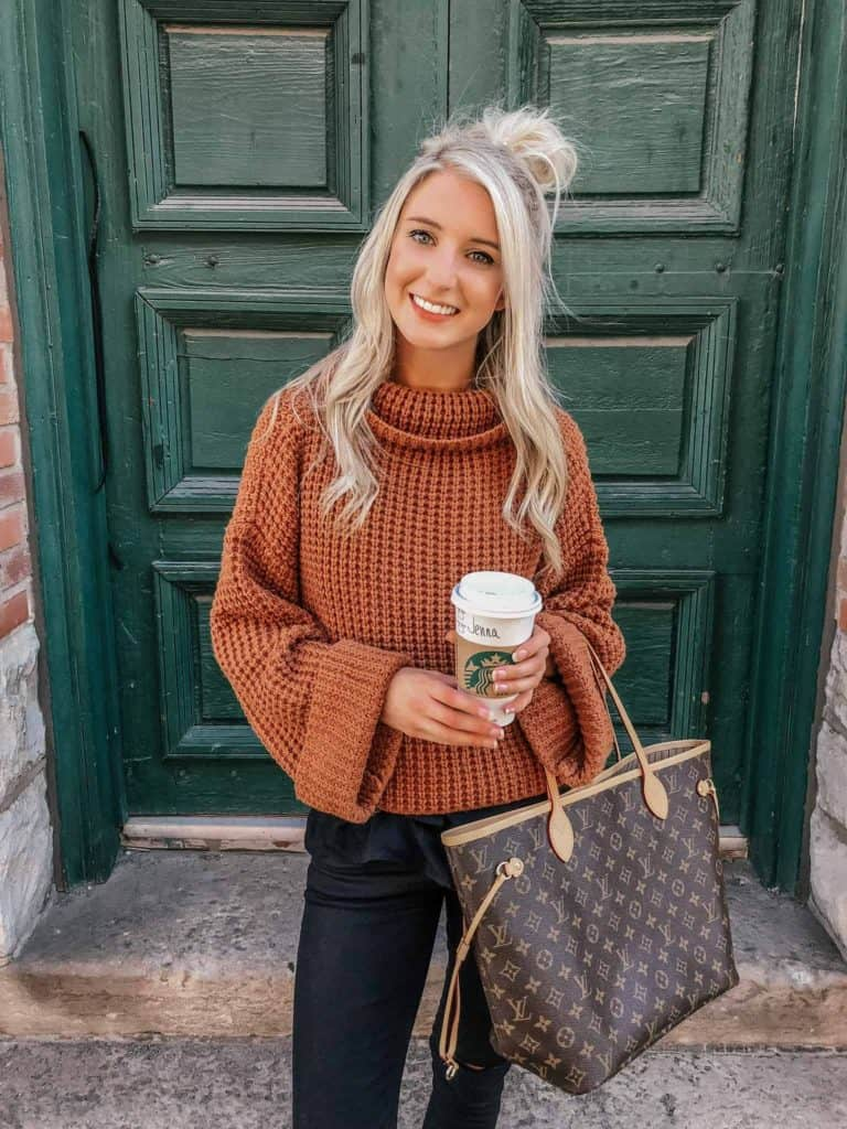 fall outfit, fall outfit women, fall outfit 2018, fall sweater, fall sweaters women, fall sweaters 2018, casual look, casual outfit, casual outfit fall, casual outfit women, retta sweater, cowl neck sweater, waffle knit sweater, waffle knit sweater outfit fall look, fall fashion, 18 fall outfits, fashion blogger, prada & pearls, fall outfits, fall outfit ideas, rust swearer outfit