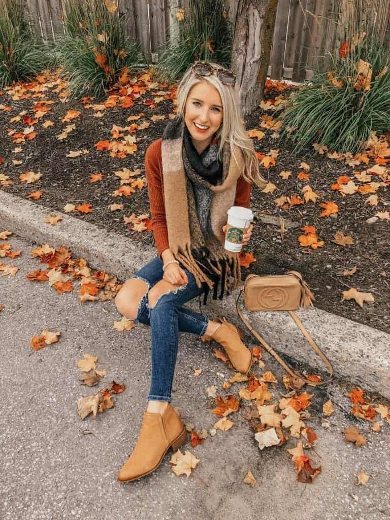 fall outfit, fall outfit women, fall outfit 2018, fall sweater, fall sweaters women, fall sweaters 2018, casual look, casual outfit, casual outfit fall, casual outfit women, scarf outfit, fall scarf, rust booties, fall fashion, 18 fall outfits, fashion blogger, prada & pearls, fall outfits, fall outfit ideas