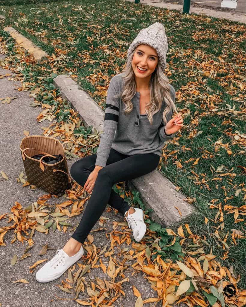 fall outfit, fall outfit women, fall outfit 2018, fall sweater, fall sweaters women, fall sweaters 2018, casual look, casual outfit, casual outfit fall, casual outfit women, pom pom beanie, jersey top, american eagle, fall fashion, 18 fall outfits, fashion blogger, prada & pearls, fall outfits, fall outfit ideas, sneakers, white sneakers, sneaker outfit