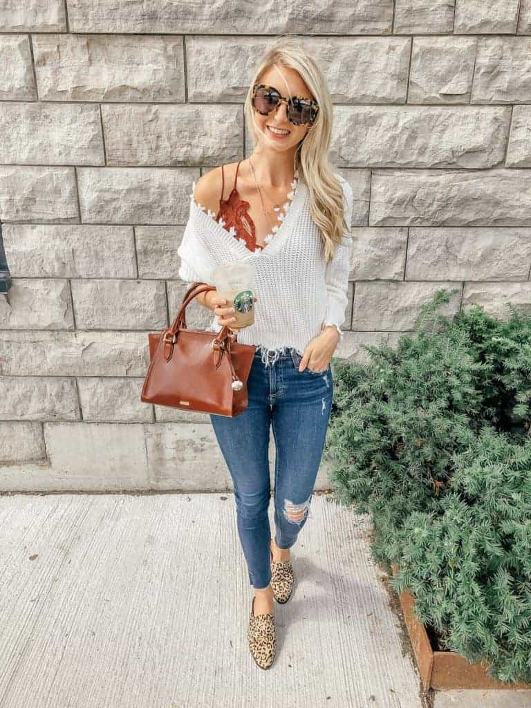 fall outfit, fall outfit women, fall outfit 2018, fall sweater, fall sweaters women, fall sweaters 2018, ripped hem, ripped hem sweater, fall look, fall fashion, 18 fall outfits, fashion blogger, prada & pearls, fall outfits, fall outfit ideas, leopard mules, leopard mules outfit