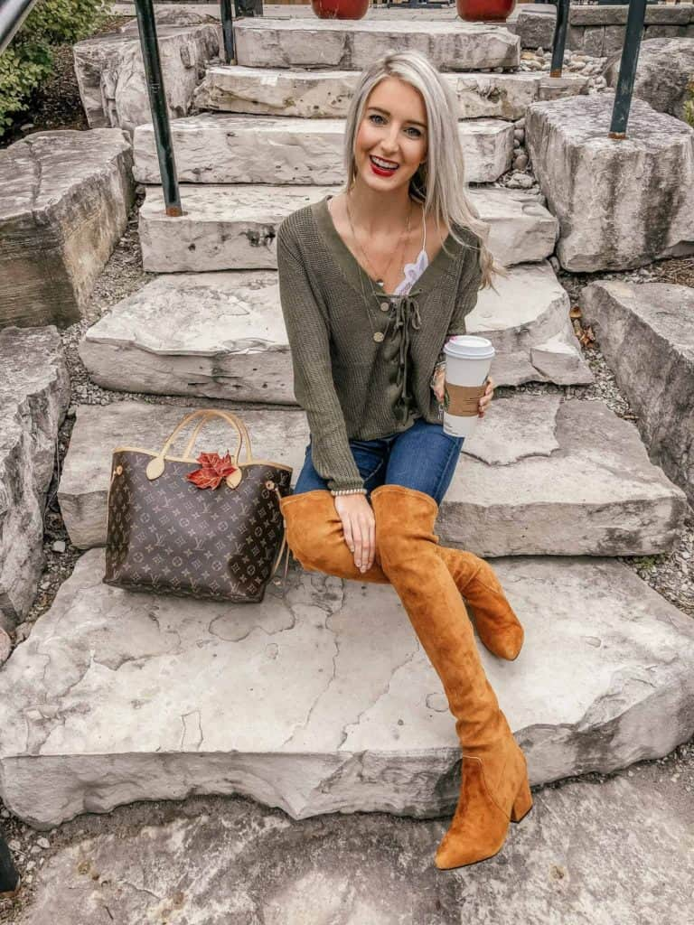fall outfit, fall outfit women, fall outfit 2018, fall sweater, fall sweaters women, fall sweaters 2018, casual look, casual outfit, casual outfit fall, casual outfit women, lace front sweater, lace up sweater, free people bralette, fall fashion, 18 fall outfits, fashion blogger, prada & pearls, fall outfits, fall outfit ideas, OTK boots, OTK boots fall, OTK boots rust