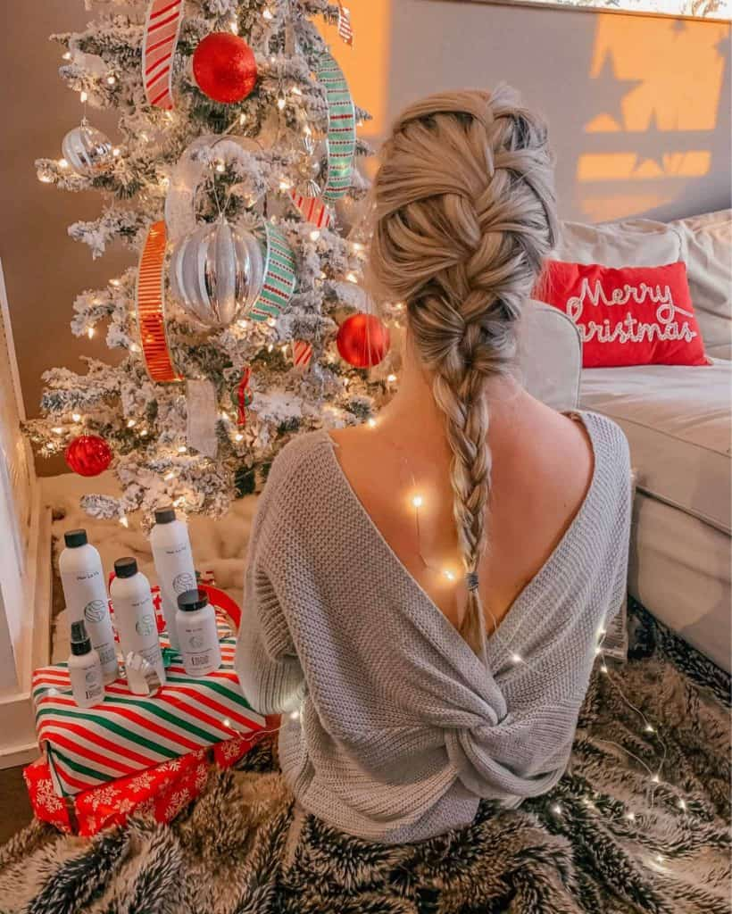 winter outfit, winter fashion, winter outfits, winter outfits cold, winter outfits casual, winter outfits canada, twist back sweater, grey sweater, french braid, french braid hairstyles, hairstyle, blonde hair, blonde hairstyle, prada and pearls, fashion blogger