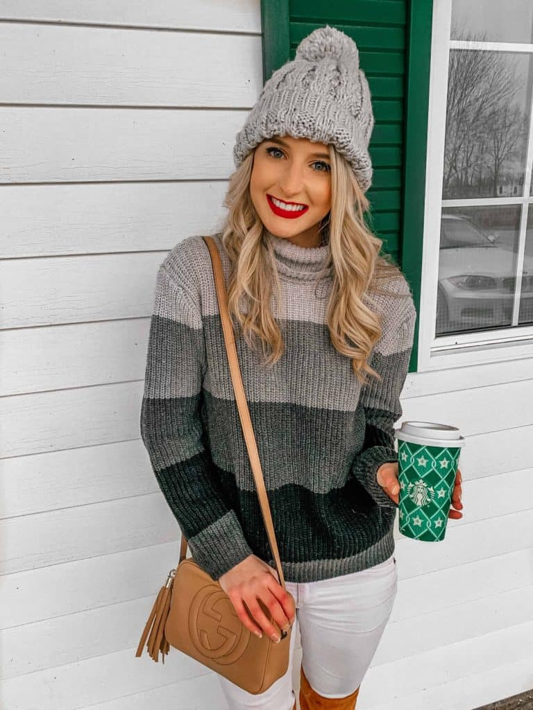 winter outfit, winter fashion, winter outfits, winter outfits cold, winter outfits casual, winter outfits canada, sweaters, sweater outfits, pom pom beanie, starbucks cup, disco bag, gucci disco, ombre sweater, ombre sweater outfit, ombre outfit, blonde hair, cozy outfit, cozy winter outfit, prada and pearls, fashion blogger