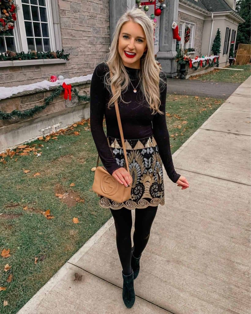 winter outfit, winter fashion, winter outfits, winter outfits cold, winter outfits casual, winter outfits canada, sequin skirt, sequin skirt outfit, sequin miniskirt, bodysuit with skirt, bodysuit outfit, prada and pearls, fashion blogger, disco bag, gucci bag outfit, party look, NYE outfit, NYE party outfit