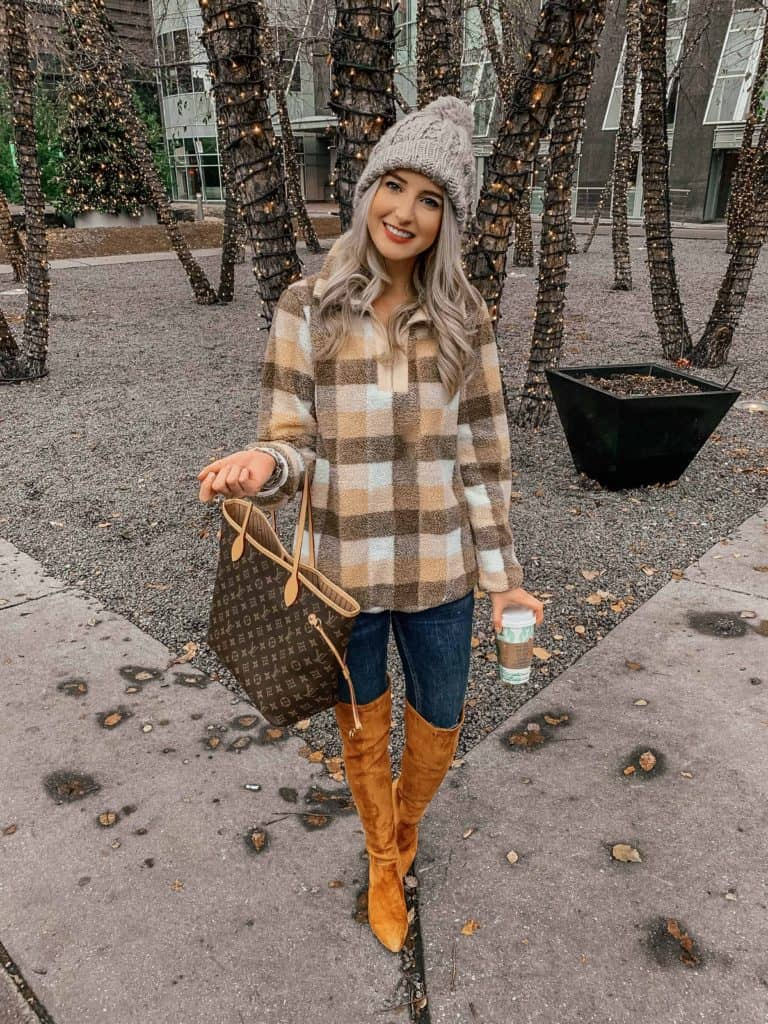 winter outfit, winter outfits, winter outfits casual, winter style, winter street style, winter style women, winter style 2018, fashion blogger, prada and pearls, sherpa, sherpa pullover, plaid sherpa, brown plaid, plaid sweater outfit, plaid sweater brown, otk boots outfit, otk boots outfit casual, otk boots rust, plaid pullover