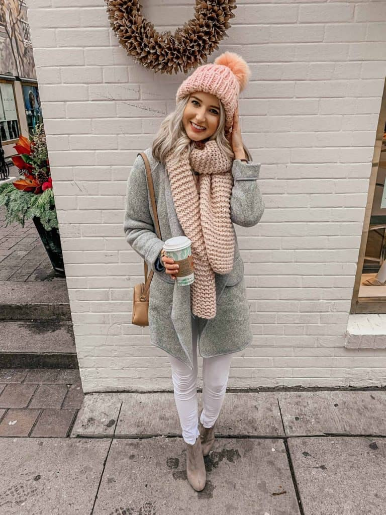 winter outfit, winter outfits, winter outfits casual, winter style, winter street style, winter style women, winter style 2018, fashion blogger, prada and pearls, winter fashion, winter coat, winter coat women, winter coat outfits, winter coat 2018, pink pom beanie, pink pom pom beanie, pink pom beanie outfit, pink scarf outfit, pink scarf winter, pink scarf outfit winter