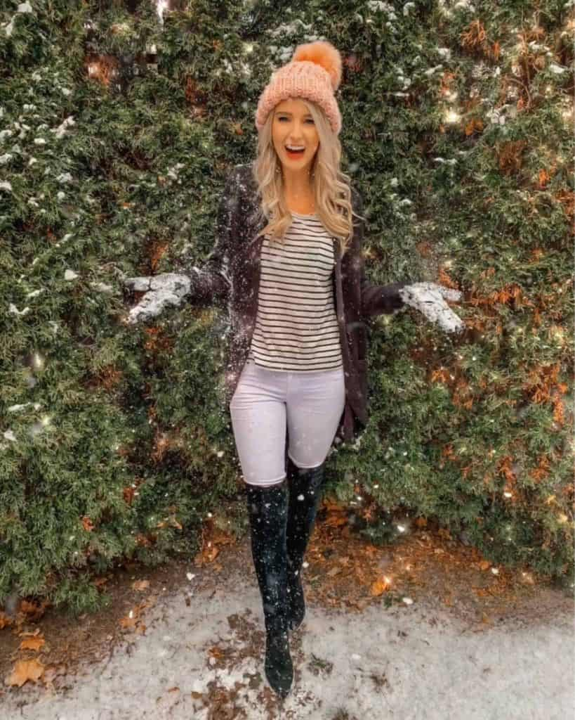 winter outfit, winter fashion, winter outfits, winter outfits cold, winter outfits casual, winter outfits canada, otk boot outfit, otk boots, knee high boots, knee high boot outfit, casual look, pom beanie, pink pom beanie, striped shirt outfit, striped shirt, stripe shirt outfit winter, white pants outfit, white pants, black cardigan outfit, black cardigan, prada and pearls, fashion blogger