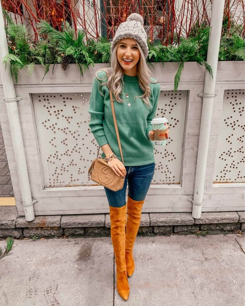 winter outfit, winter outfits, winter outfits casual, winter style, winter street style, winter style women, winter style 2018, fashion blogger, prada and pearls, winter fashion, otk boots, otk boots outfit, otk boot outfit, otk boots rust, disco bag, disco bag outfit, green sweater, green sweater outfit, grey pom beanie outfit