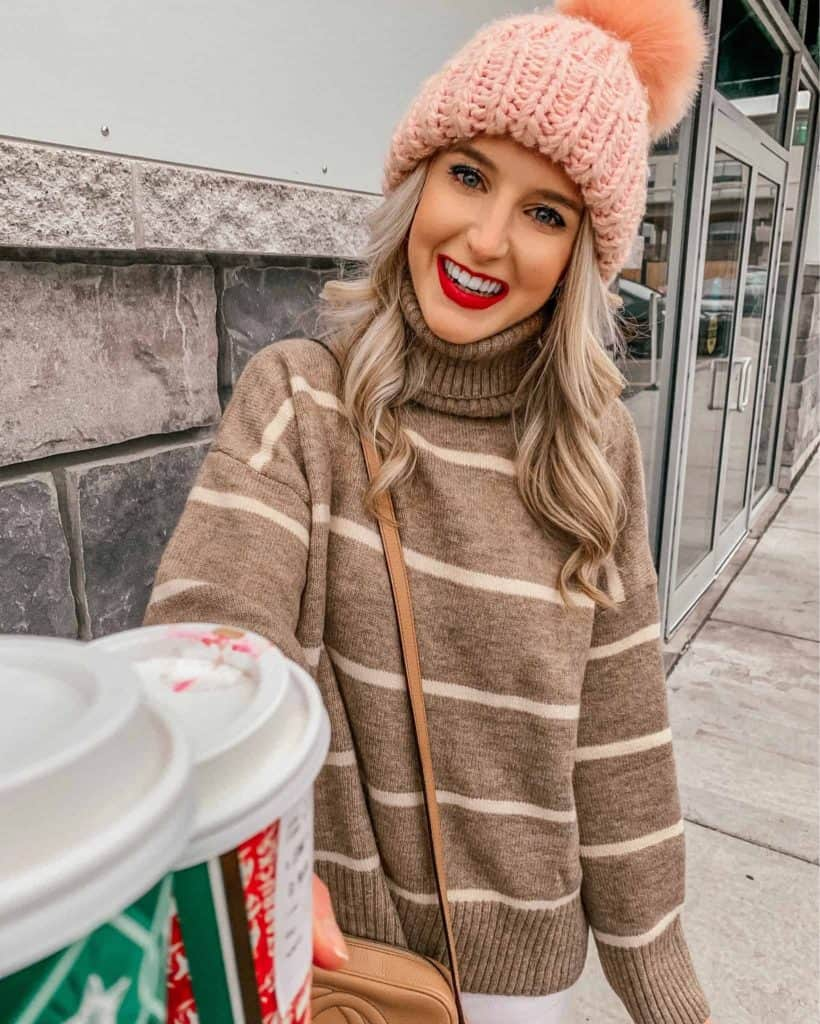winter outfit, winter fashion, winter outfits, winter outfits cold, winter outfits casual, winter outfits canada, sweaters, sweater outfits, striped sweater, striped sweater outfit, pom pom beanie, starbucks cup, prada & pearls, fashion blogger, cold weather fashion