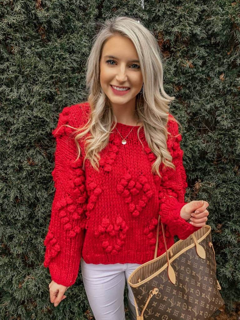 winter outfit, winter fashion, winter outfits, winter outfits cold, winter outfits casual, winter outfits canada, sweaters, sweater outfits, pom sweater, pom pom sweater, red sweater, red sweater outfit, LV bag, never full bag, fashion blogger, prada and pearls