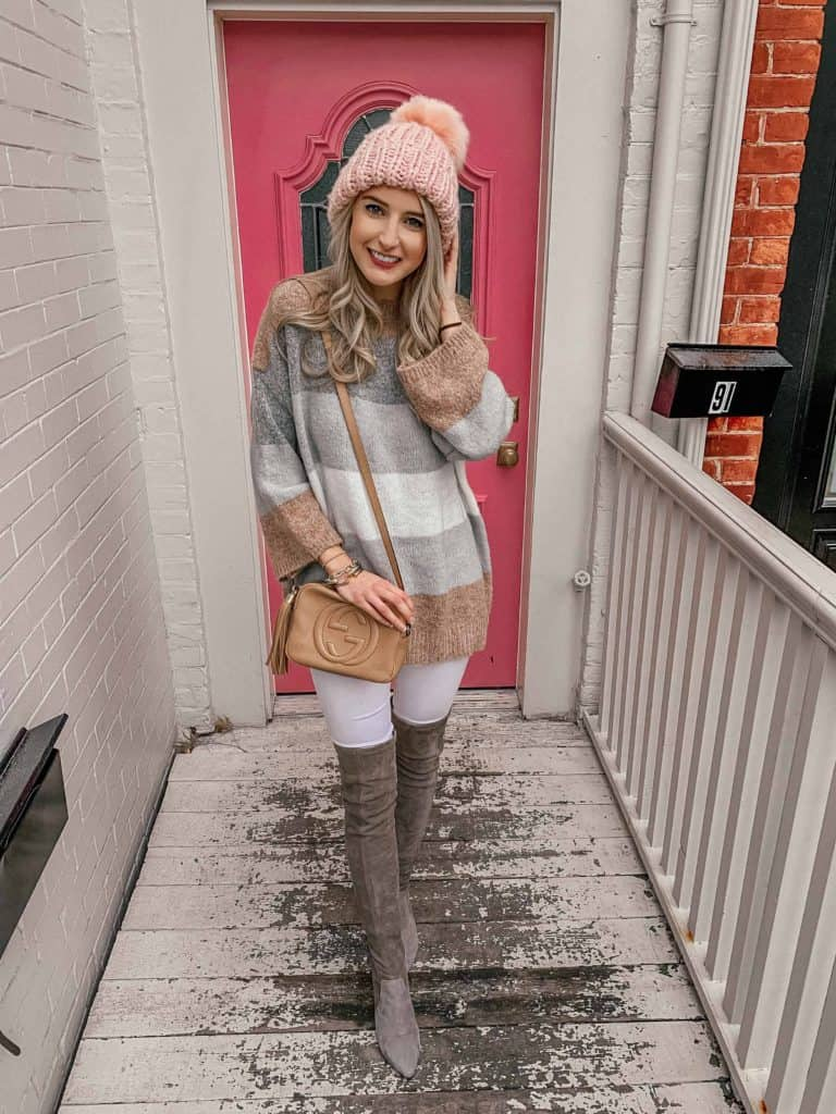 winter outfit, winter outfits, winter outfits casual, winter style, winter street style, winter style women, winter style 2018, fashion blogger, prada and pearls, otk boot outfit, otk boot outfit casual, otk boots grey, casual outfit, casual winter outfit, striped sweater, pink pom beanie outfit, pink pom beanie, neutral sweater outfit, neutral sweater outfit jeans, winter fashion
