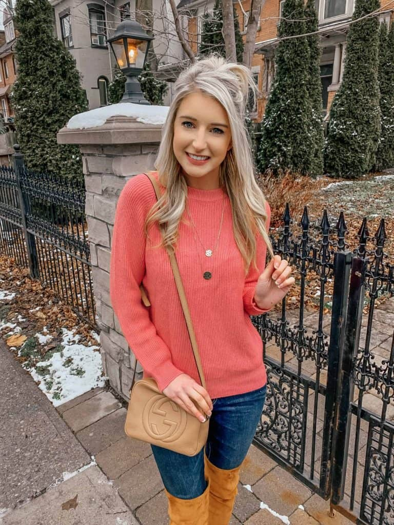 winter outfit, winter fashion, winter outfits, winter outfits cold, winter outfits casual, winter outfits canada, sweaters, sweater outfits, pink sweater, pink sweater outfit, pink sweater casual, casual outfit, gucci disco, disco bag, blonde hairstyles, prada and pearls, fashion blogger