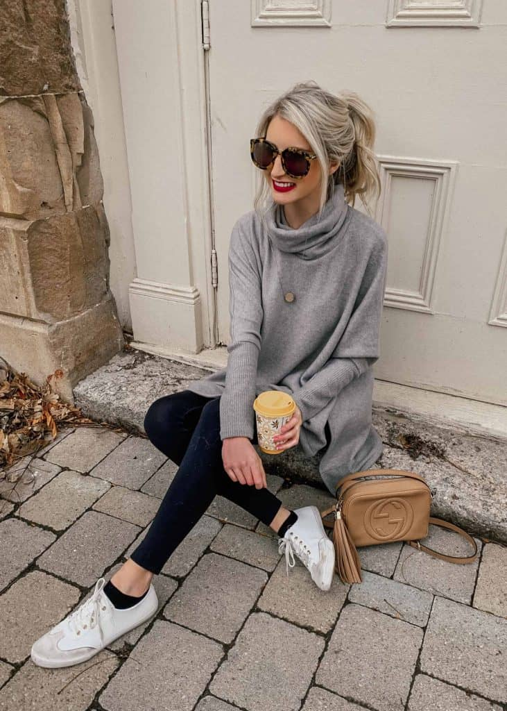 winter outfit, winter fashion, winter outfits, winter outfits cold, winter outfits casual, winter outfits canada, casual look, comfy look, cowl neck sweater, cowl neck sweater outfit, cowl neck, cowl neck sweater, leggings outfit winter, legging outfits, leggings outfit, leggings, sneaker outfit, sneakers outfit, sneakers women, disco bag, gucci disco, prada and pearls, fashion blogger