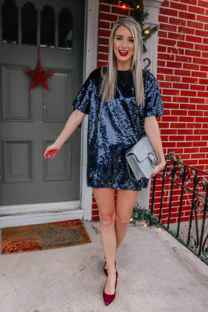party look, holiday party outfit, holiday 2018 outfit, holiday outfits christmas, holiday outfits, holiday party outfit 2018, sequin dress, sequin dress short, sequin dress party, NYE outfit, suede shows, suede heels, designer dupe, designer dupe bag, designer dupes fashion, prada and pearls, fashion blogger