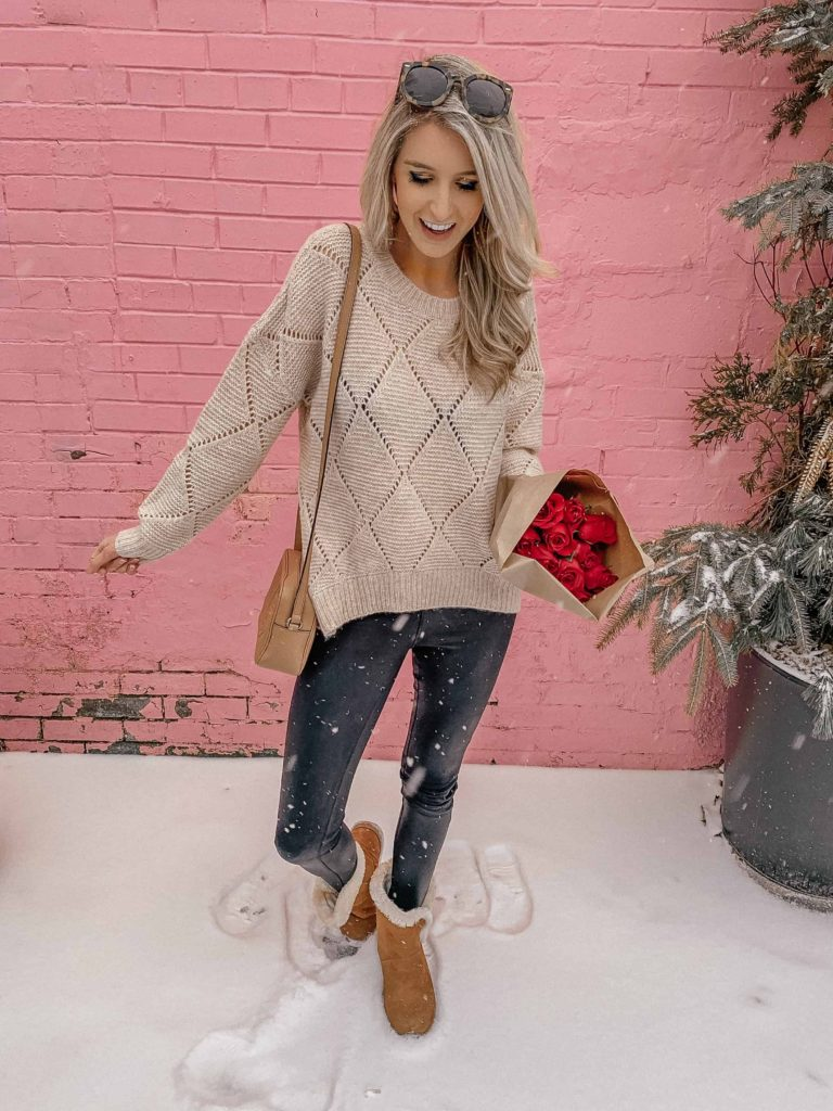 valentine, valentines, valentines day, valentines day outfit, what to wear valentines day, valentines day outfit date, valentines day outfit casual, valentines day outfit ideas, prada and pearls, fashion blogger, fresh roses, snow, winter outfit, winter sweater