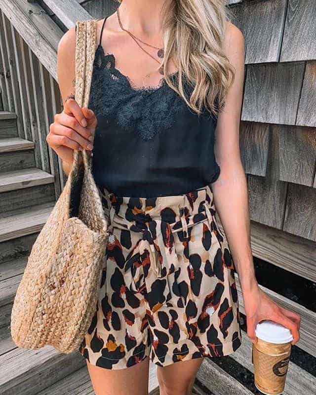 paperbag shorts, summer outfits women, summer outfits 2019, shorts outits women, shorts pattern, patterned shorts, paperbag, paperbag shorts outfit, paperbag shorts outfit summer, leopard shorts, leopard shorts outfit, leopard shorts outfit summer, black cami, black cami outfit, summer outfit, rattan bag, fashion blogger, prada and pearls