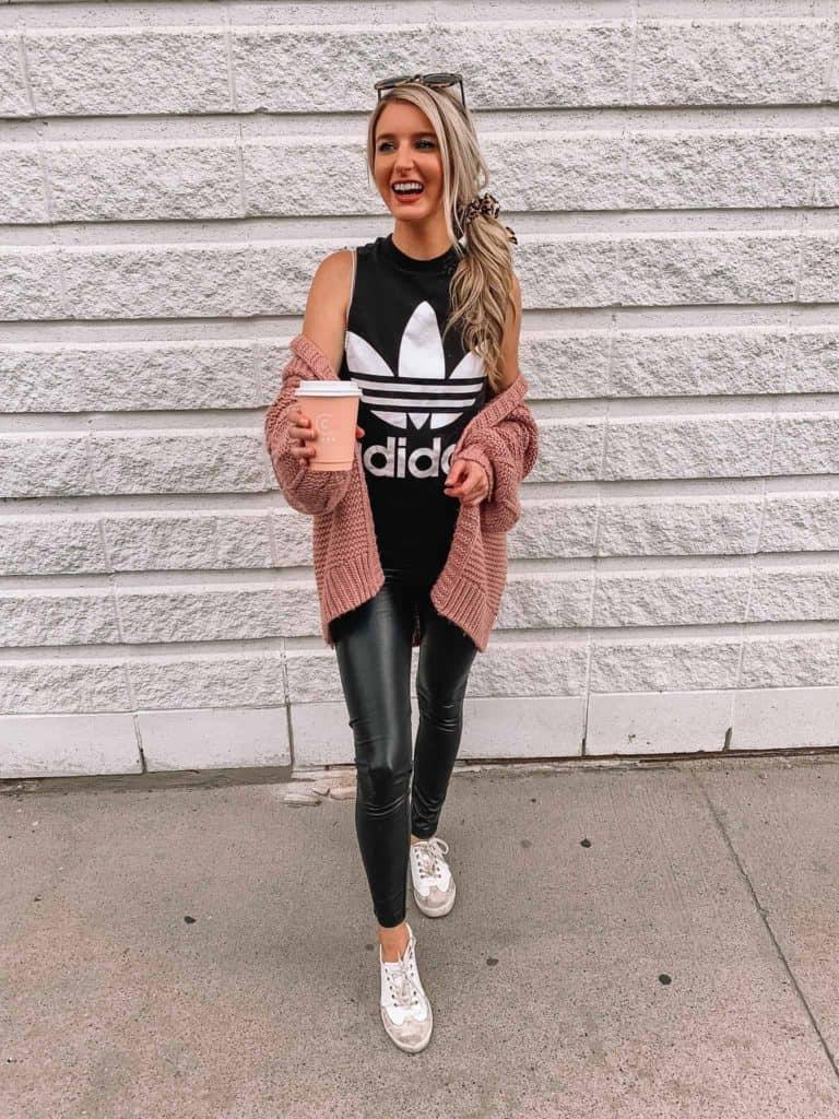 leopard scrunchie, athleisure, athleisure outfits, athleisure outfits fall, athleisure capsule wardrobe, adidas tank, adidas trefoil tank, street style, prada and pearls, fashion blogger, faux leather leggings, pink cardigan, athletic wear, athleisure women
