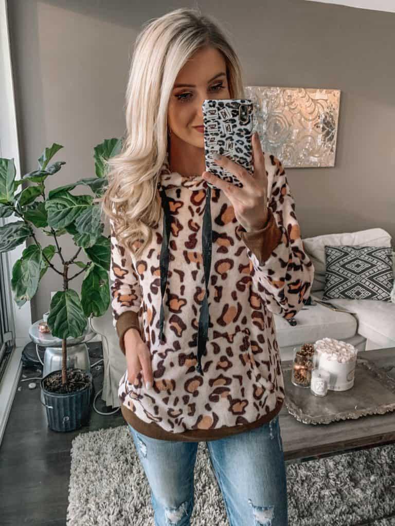 Amazon fashion haul, leopard sweater