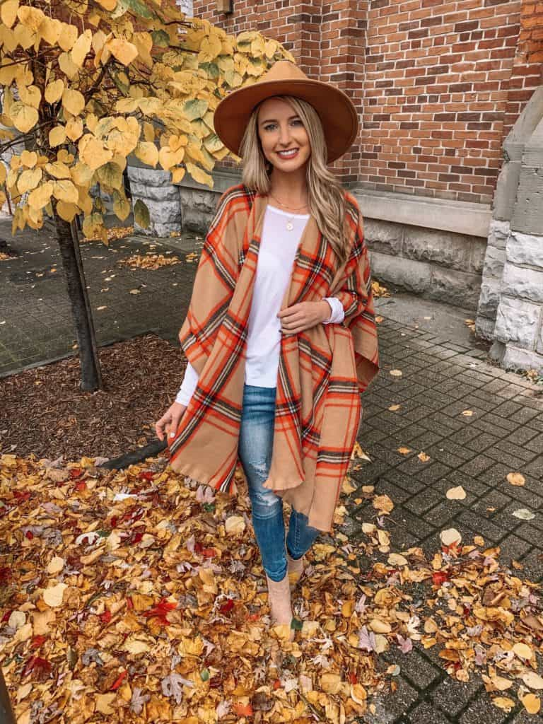 vici, vici collection, vici dolls, poncho outfit, poncho outfit fall, cape patter, cape for women, poncho for women, scarf outfit, fall outfit, fall outfit women, fall outfit women 2019, plaid scarf, plaid scarf outfit, prada and pearls, fashion blogger #falloutfit #plaidscarf #vici