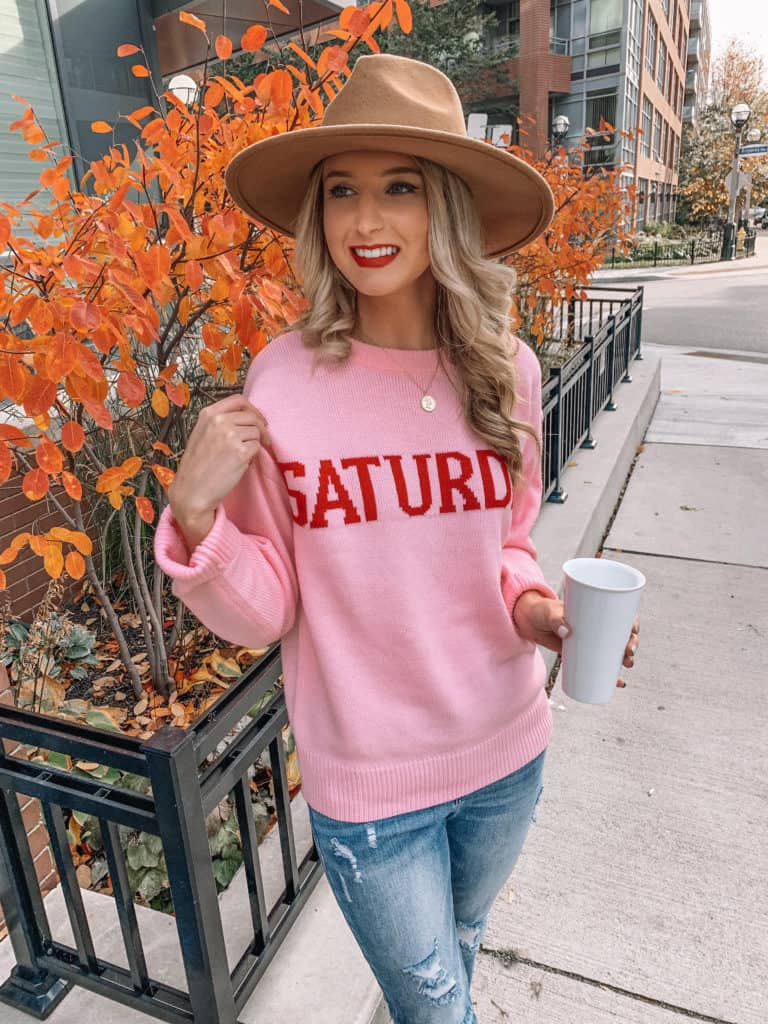 Vici Dolls, graphic sweater, sweater outfit, pink sweater, pink sweater outfit, felt fedora, coin necklace, fall fashion, fall outfits, fall outfits 2019, fall 2019 fashion trends, prada and pearls, Vici Dolls, Vici collection, Vici, fashion blogger, prada and pearls #pinksweater #falloutfit #vici