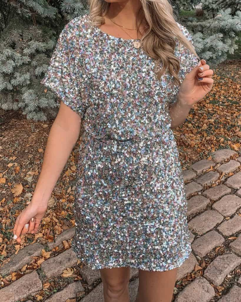 sequin dress, party dress, party dresses short, Vici dolls, mini dress, holiday dress party, NYE dress, NYE short dress, NYE sequin dress, silver sequin dress, blonde hair, long hair style, fashion blogger, prada & pearls, prada and pearls #sequindress #partydress #holidaydress