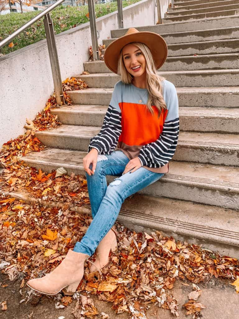 Vici Dolls, striped top, sweater outfit, striped shirt outfit, striped sleeve shirt, fall top 2019, felt fedora, coin necklace, fall fashion, fall outfits, fall outfits 2019, fall 2019 fashion trends, prada and pearls, Vici Dolls, Vici collection, Vici, fashion blogger, prada and pearls, taupe booties #fallfashion #falltop #Vici