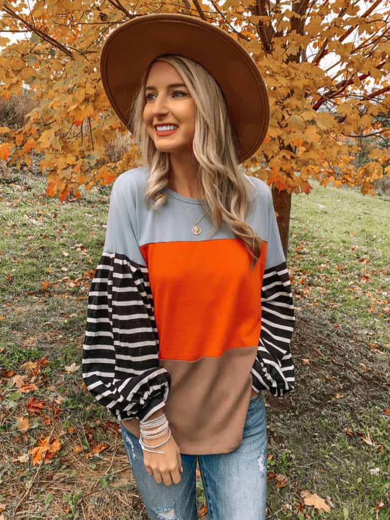 Vici Dolls, striped top, sweater outfit, striped shirt outfit, striped sleeve shirt, fall top 2019, felt fedora, coin necklace, fall fashion, fall outfits, fall outfits 2019, fall 2019 fashion trends, prada and pearls, Vici Dolls, Vici collection, Vici, fashion blogger, prada and pearls #fallfashion #falltop #Vici