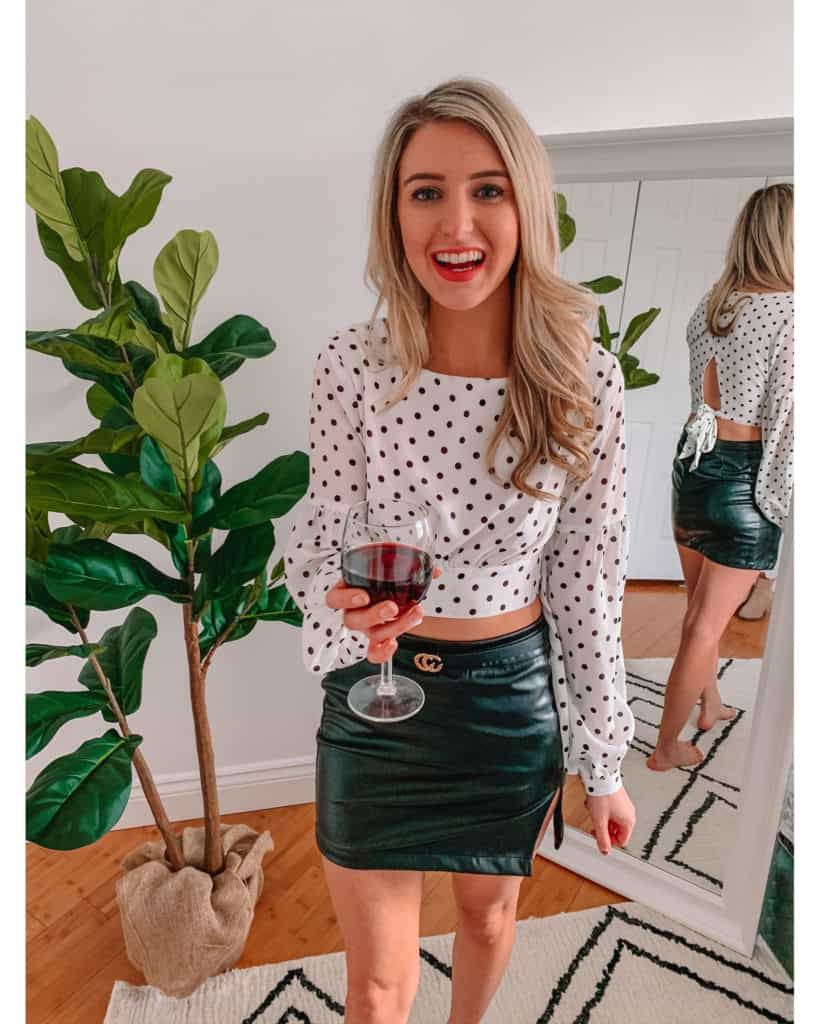 February top sellers, polka dot top, revolve top, faux leather skirt, gucci belt dupe, womens spring outfit, skirt outfit